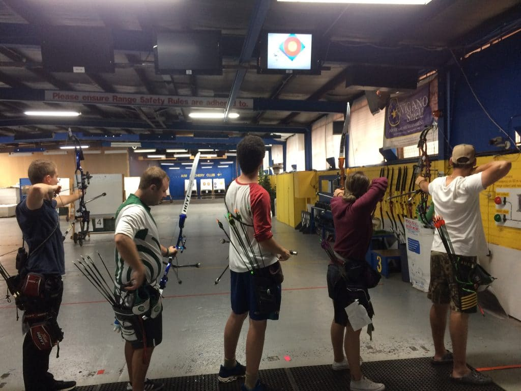 With it raining cats & dogs outside ... the competitive archers come to AIM's 50 indoor to train